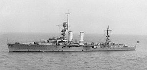 German cruiser Emden - Image: Light Cruiser Emden in China 1931 crop