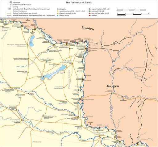 Karte Donaulimes (Kandidat für das UNESCO-Welterbe in Österreich)