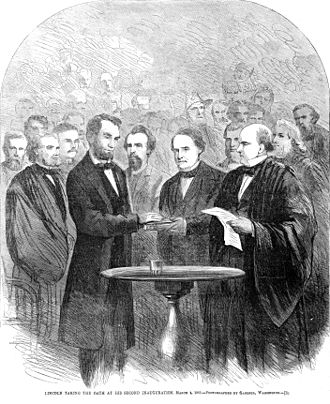 Second inauguration of Abraham Lincoln - Lincoln taking the oath at his second inauguration. Chief Justice Salmon P. Chase administering oath of office.