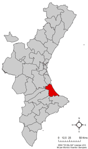 Safor - Image: Localització de la Safor respecte del País Valencià