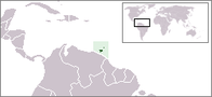 A map showing the location of Trinidad and Tobago