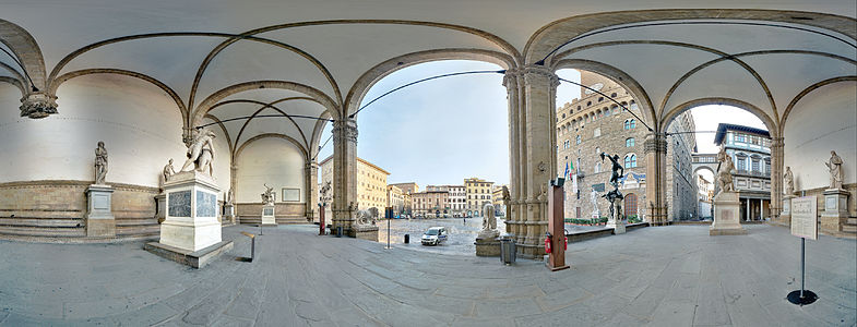 360° view of Loggia dei Lanza in a very high resolution. The point of view was choosen to display at least a part of all statues, the David in front of the Palazzo Vecchio and the Uffzi. There are also smaller versions of this image.