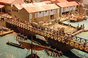 Londinium - A model of London in 85–90 on display in the Museum of London, depicting the first bridge over the Thames