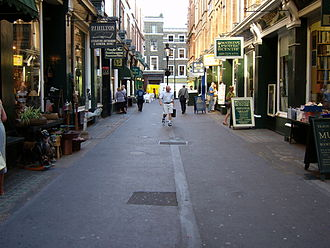 Mozart family grand tour - Cecil Court, the street in which the Mozart family found lodgings on arriving in London, April 1764 (2005 photograph).