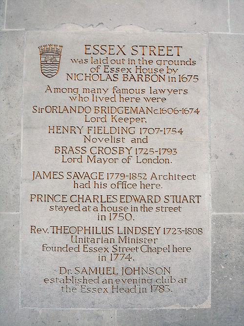 London county council plaque essex hall, 7 essex street, london ec2