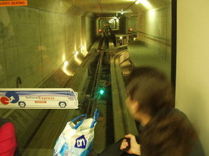 Stansted Airport Transit System - Image: London Stansted people mover underground