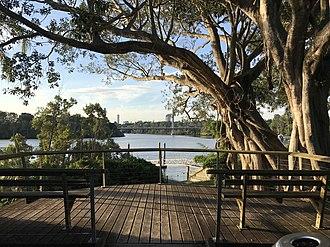 Fairfield, Queensland - View from Fairfield along Brisbane River towards Eleanor Schonell Bridge, 2017