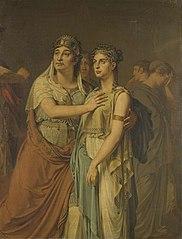 De actrices Joanna Cornelia Ziesenis-Wattier (1762-1827) en Geertruida Jacoba Grevelink-Hilverdink (1786-1827) in Iphigenia (1674) van Jean Racine (1639-99)