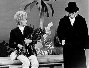 "Arte Johnson - Johnson as ""Tyrone F. Horneigh"" approaching Lucille Ball in a sketch on The Glen Campbell Goodtime Hour (1971)"