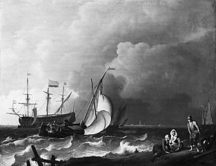 Rough sea with ships