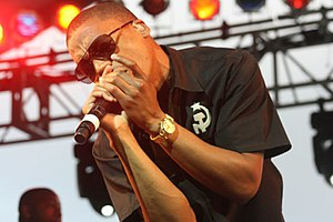 Lupe Fiasco performing at the Mile High Music ...