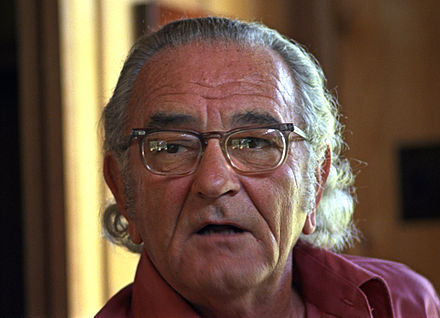 Johnson with longer hair during an interview in August 1972, five months before his death Lyndon B. Johnson 1972.jpg