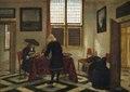 Målning. Interiörscen med sjungande o violspelande män. Pieter Janssens Elinga - Hallwylska museet - 86726.tif
