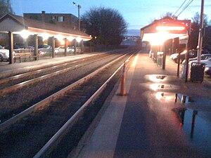 Melrose/Cedar Park (MBTA station) - Southbound view of Melrose-Cedar Park Station at dusk