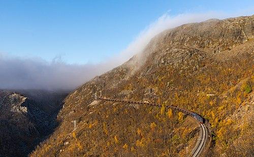 Iron ore train towards between Søsterbekk and Norddalen, Norway