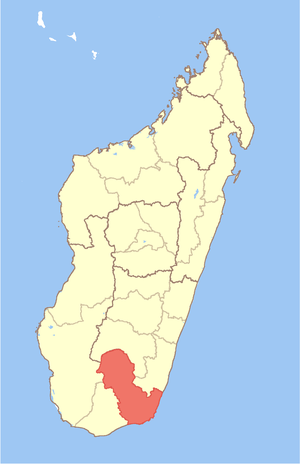 Map of Madagascar with Anosy Region highlighted