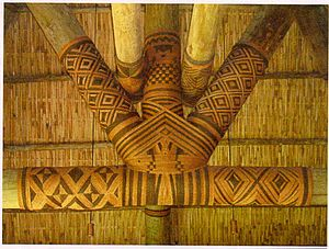 Sennit - Magimagi sennit of Fiji around wooden ceiling posts.