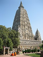 The Mahabodhi Temple towering above its surroundings like a skyscraper carved of stone