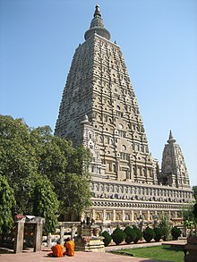 stone Mahabodhi temple in Bodh Gaya, India, is the place where Gautama Buddha attained nirvana underneath the Bodhi Tree