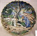 Maiolica di urbino, crespina con creazione di adamo, 1550 ca.jpg