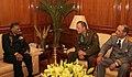 Maj. Gen. Kodyr Teshaev Commandant Tajik Military Institute and Maj. Gen. Fayj Dustov Commandant Military Lyceum called on the Chief of Army Staff, Gen. V.K. Singh, in New Delhi on January 24, 2011.jpg