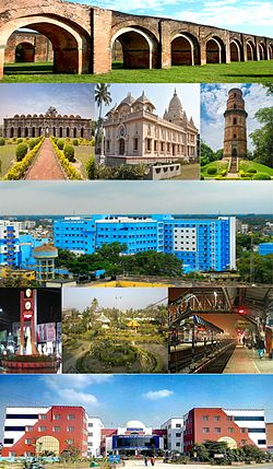 Malda city skyline, Adina Mosque, Gour, Ramkrishna Mission, Malada Medical College, Foara More, Park, University of Gour Banga