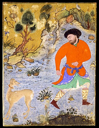 Man with a Saluki, painting c. 1555, Persia.