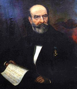 Nikolaos Mantzaros' most popular work is the music for Hymn to Liberty, whose first and second stanzas became the national anthem in 1865 Mantzaros.jpg