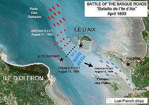 History of the French Navy - The Battle of the Basque Roads off Ile d'Aix, April 1809.