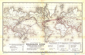 History of telegraphy in Australia - World map of telegraph density