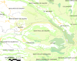 Mapa obce Saint-Paul-de-Salers