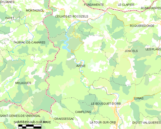 Avène - Map