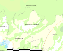 Mapa obce Thury-sous-Clermont