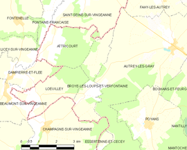 Mapa obce Broye-les-Loups-et-Verfontaine