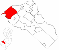 Logan Township highlighted in Gloucester County. Inset map: Gloucester County highlighted in the State of New Jersey.