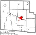 Map of Hardin County Ohio Highlighting Kenton City.png