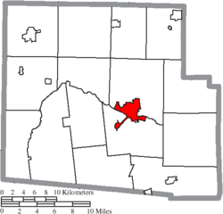 Location of Kenton in Hardin County