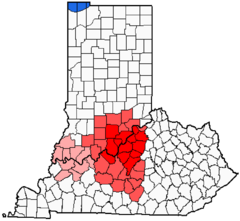 Louisville metropolitan area   Additional areas considered a part of Kentuckiana   Evansville Metropolitan area and Owensboro Metropolitan area, not commonly considered a part of Kentuckiana