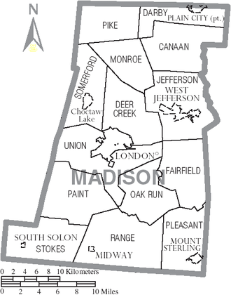 Madison County, Ohio - Map of Madison County, Ohio with Municipal and Township Labels