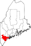 Map of Maine highlighting Cumberland County.svg
