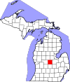 State map highlighting Gratiot County