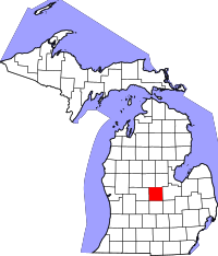 Map of Michigan highlighting Gratiot County