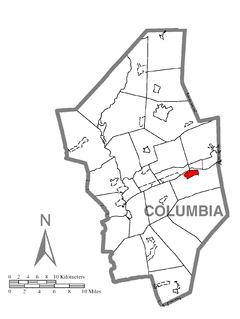 Map of Mifflinville, Columbia County, Pennsylvania Highlighted.png