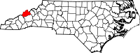 Map of North Carolina highlighting Madison County