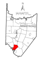 Map of Armstrong County, Pennsylvania highlighting Parks Township