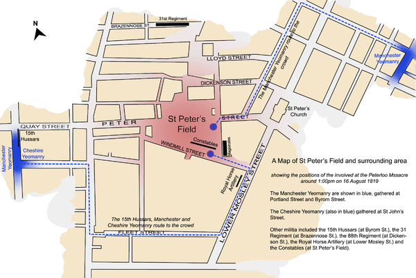 A map of St Peter's Field and surrounding area on 16 August 1819 Map of Peterloo Massacre.png