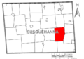Map of Susquehanna County Pennsylvania highlighting Gibson Township.PNG