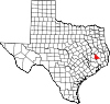 State map highlighting San Jacinto County