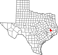 Map of Texas highlighting San Jacinto County