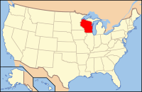 Map of the U.S. highlighting Вісконсин